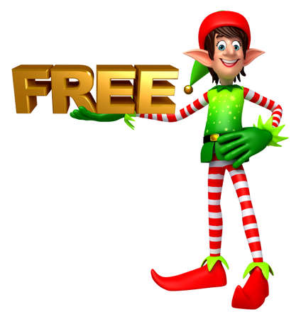 three wishes: 3d rendered illustration of elves with free sign