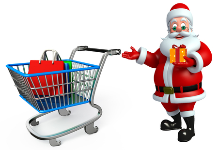 three wishes: 3d rendered illustration of santa claus with shopping bag
