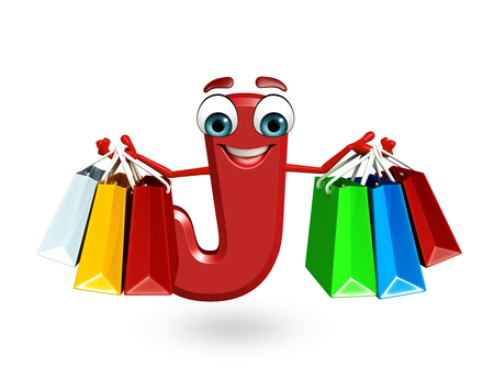 3d rendered illustration of alphabet J Cartoon Character with shopping bag Stock Photo