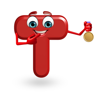 3d rendered illustration of alphabet T Cartoon Character with medal