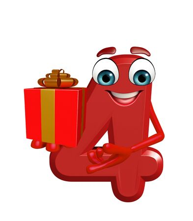 gift bag: 3d rendered illustration of cartoon character of four digit with gift bag Stock Photo