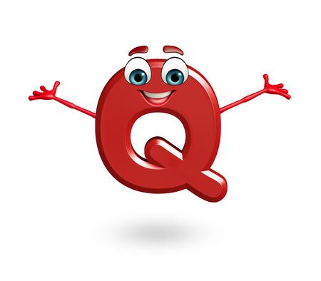 3d rendered illustration of alphabet Q Cartoon Character