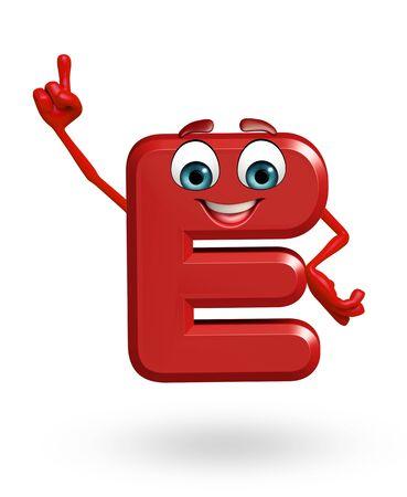 3d rendered illustration of alphabet E Cartoon Character