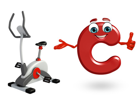 3d rendered illustration of alphabet C Cartoon Character with exercising machine