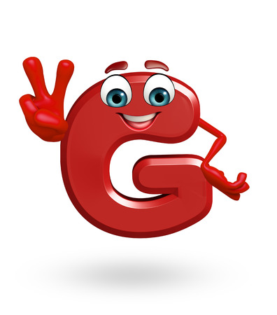 3d rendered illustration of alphabet G Cartoon Character