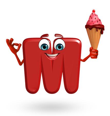 3d rendered illustration of alphabet M Cartoon Character with icecream Stock Illustration - 45373379