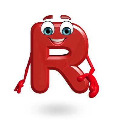 3d rendered illustration of alphabet R Cartoon Character