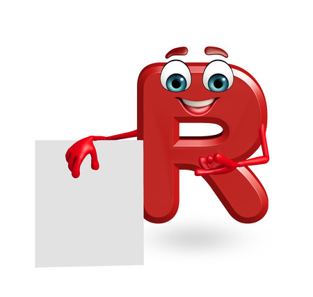 r: 3d rendered illustration of alphabet R Cartoon Character with sign