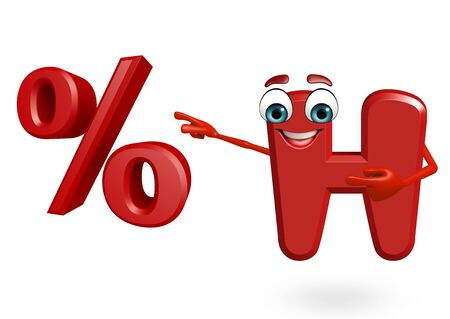 percentage sign: 3d rendered illustration of  alphabet H Cartoon Character with percentage sign Stock Photo