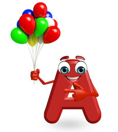 3d rendered illustration of alphabet A Cartoon Character with balloons Stock Photo