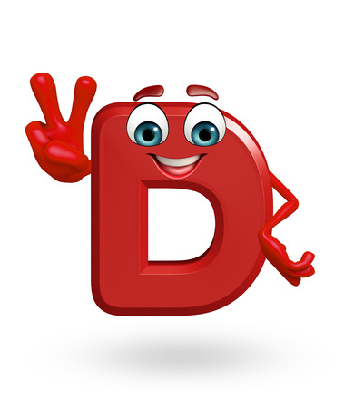 d: 3d rendered illustration of  alphabet D Cartoon Character Stock Photo