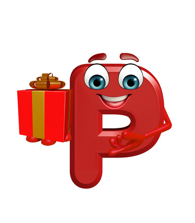 3d rendered illustration of alphabet P Cartoon Character with gift box Stock Photo