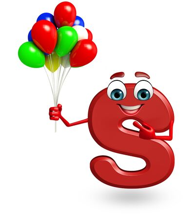 3d rendered illustration of alphabet S Cartoon Character with balloons