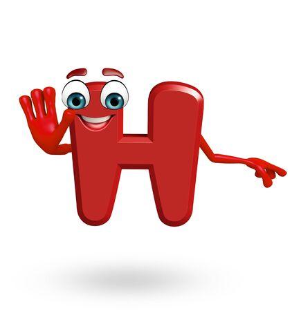 3d rendered illustration of alphabet H Cartoon Character