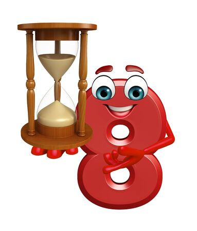 sand clock: 3d rendered illustration of cartoon character of eight digit with sand clock