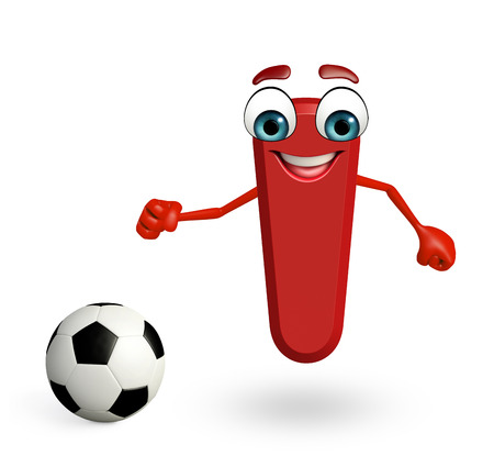 3d rendered illustration of alphabet I Cartoon Character with football