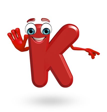 3d rendered illustration of alphabet K Cartoon Character