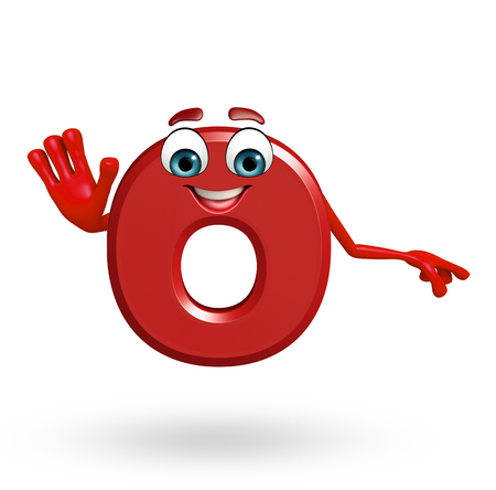 3d rendered illustration of alphabet O Cartoon Character