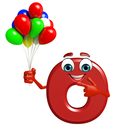 letter word: 3d rendered illustration of alphabet O Cartoon Character with balloons