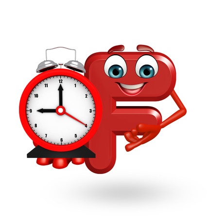 3d rendered illustration of alphabet F Cartoon Character with clock