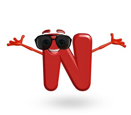 3d rendered illustration of alphabet N Cartoon Character with goggles Stock Photo