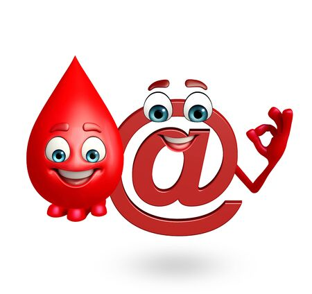 topics: 3d rendered illustration of at the rate sign with blood drop