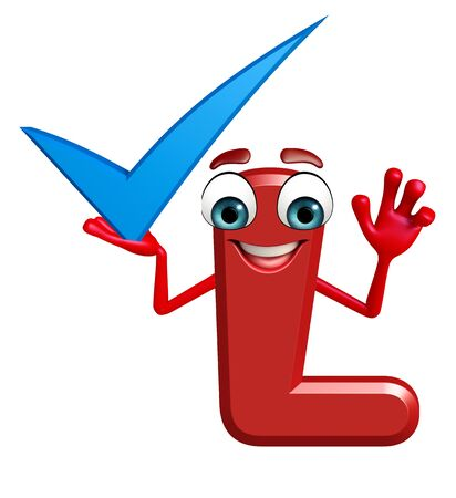 3d rendered illustration of alphabet L Cartoon Character with right sign Stock Illustration - 45374130