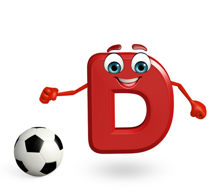 3d rendered illustration of alphabet D Cartoon Character with football Stock Photo