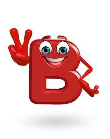 3d rendered illustration of  alphabet B Cartoon Character
