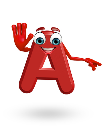 3d rendered illustration of alphabet A Cartoon Character