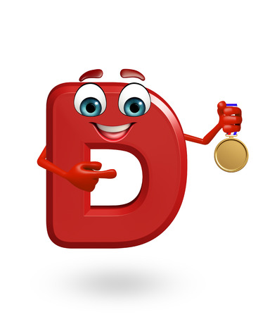 3d rendered illustration of alphabet D Cartoon Character with medal Stock Photo