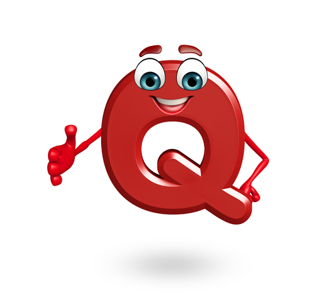 3d rendered illustration of alphabet Q Cartoon Character