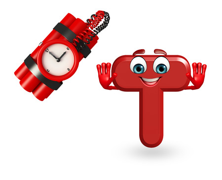 timebomb: 3d rendered illustration of alphabet T Cartoon Character with timebomb