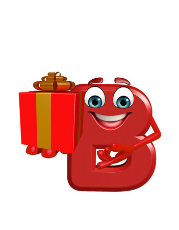 3d rendered illustration of alphabet B Cartoon Character with gift box