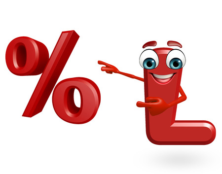 3d rendered illustration of  alphabet L Cartoon Character with percentage sign