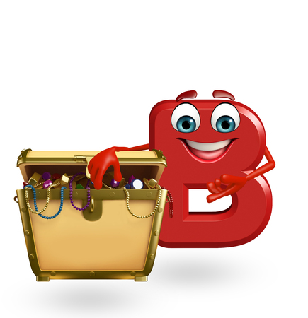 3d rendered illustration of alphabet B Cartoon Character with treasure box