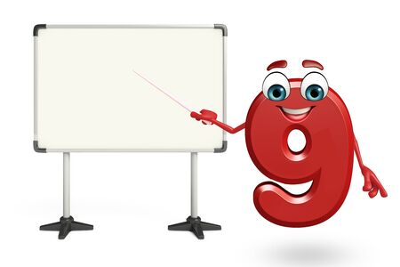 display board: 3d rendered illustration of cartoon character of nine digit with display board Stock Photo