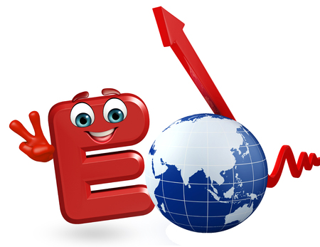 3d rendered illustration of alphabet E Cartoon Character with globe