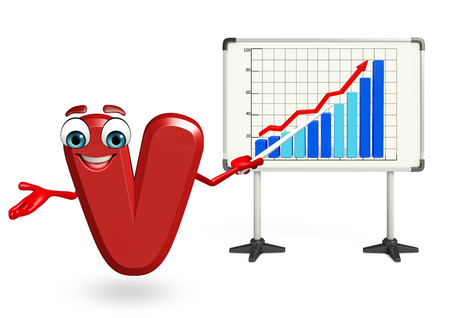 3d rendered illustration of cartoon character of V with business graph Stock Photo