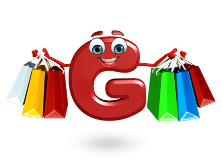 3d rendered illustration of alphabet G Cartoon Character with shopping bag Stock Photo