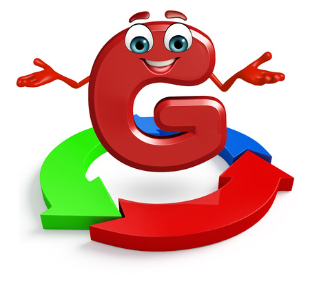 3d rendered illustration of alphabet G Cartoon Character with arrow