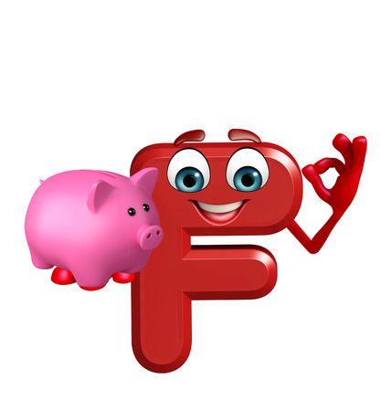 3d rendered illustration of alphabet F Cartoon Character with piggy bank