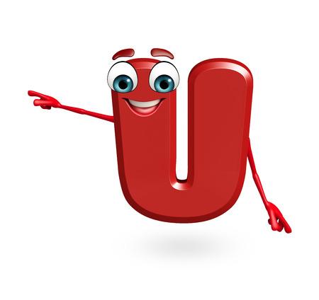 3d rendered illustration of alphabet U Cartoon Character