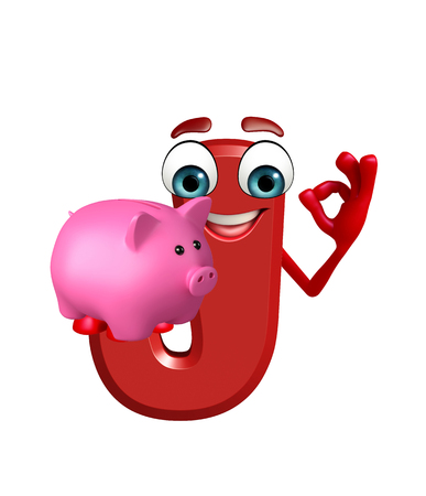3d rendered illustration of alphabet J Cartoon Character with piggy bank Stock Photo