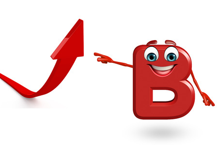 3d rendered illustration of alphabet B Cartoon Character with arrow