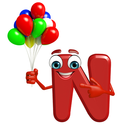 3d rendered illustration of alphabet N Cartoon Character with balloons