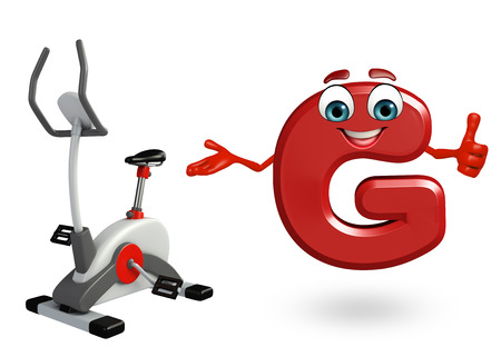 3d rendered illustration of alphabet G Cartoon Character with exercising machine