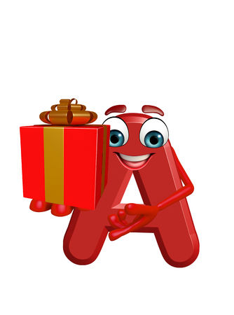 3d rendered illustration of alphabet A Cartoon Character with gift box Stock Photo