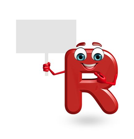 3d rendered illustration of alphabet R Cartoon Character with sign