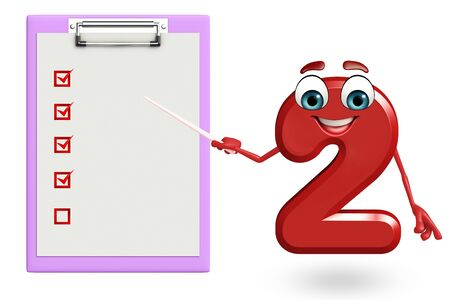 two dimensional shape: 3d rendered illustration of cartoon character of two digit with notepad Stock Photo